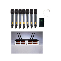 7 handheld+1 headset UHF 8 Channels True diversity Wireless Microphone System IR Sync for Church Party School Stage Performance