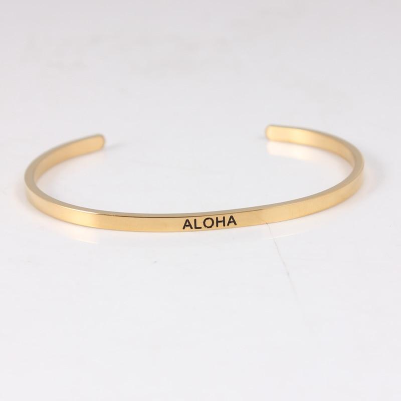 Bracelet inspirant ALOHA 316 Bracelet à breloques en acier inoxydable bracelets lettres personnalisées bracelets pour femme 10 pcs/lot