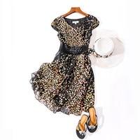 Women Vintage Summer 100% Natural Silk Dresses Casual Holiday Knee Length Vestido Real Silk elegant work wear Beading Dress
