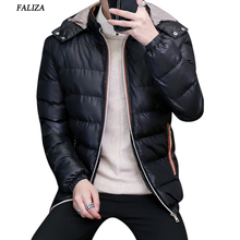 FALIZA 2017 Solid Hooded Men's Winter down Jackets Casual Parkas Men Coats Thick Thermal Shiny Coats Padded Mens jackets SM-MY-A