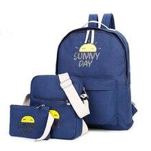 3 шт./компл. 2016 летние женщины рюкзак солнце холст рюкзаки для девочек-подростков mochila feminina симпатичные путешествия, школьные сумки набор