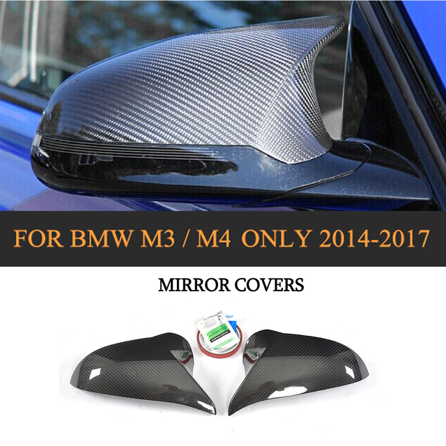 DRY Carbon Fiber Rear View Mirror Covers Add On Style For BMW F80 M3 F82 F83 M4 Sedan 4Door Coupe Convertible 2Door Only 14-17
