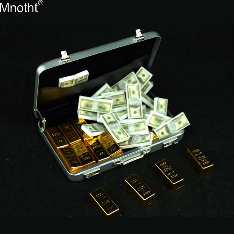 Mnotht 1/6 Gold Brick Bullion Model Scene Accessory Suitcase Trunk Fit Ancient Soldiers Toy For 12in Action Figure Collection Mb