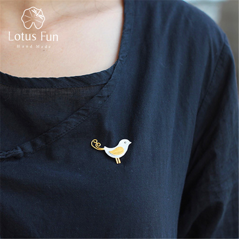 Lotus Fun Real 925 Sterling Silver Designer Handmade Fine Jewelry Adorable Little Jay Bird Brooches Pin Badge Broche For Women-0