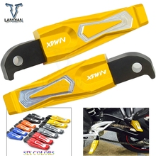CNC Aluminum Motorcycle Accessories Folding Rearset foot pegs Rear Passenger Pedals Footrests For YAMAHA NMAX logo