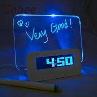 Romantic LED Luminous Memo Pad Message Board Digital Alarm Clock Home Nigh Light