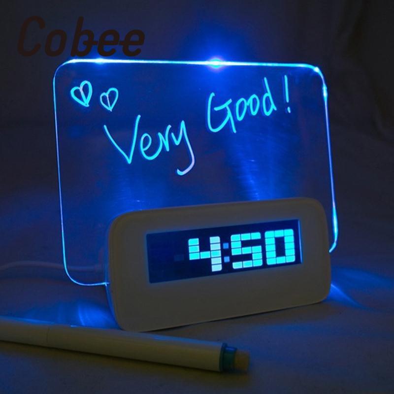 Cobee Romantic LED Luminous Memo Pad Message Board Digital Alarm Clock Home Nigh Light