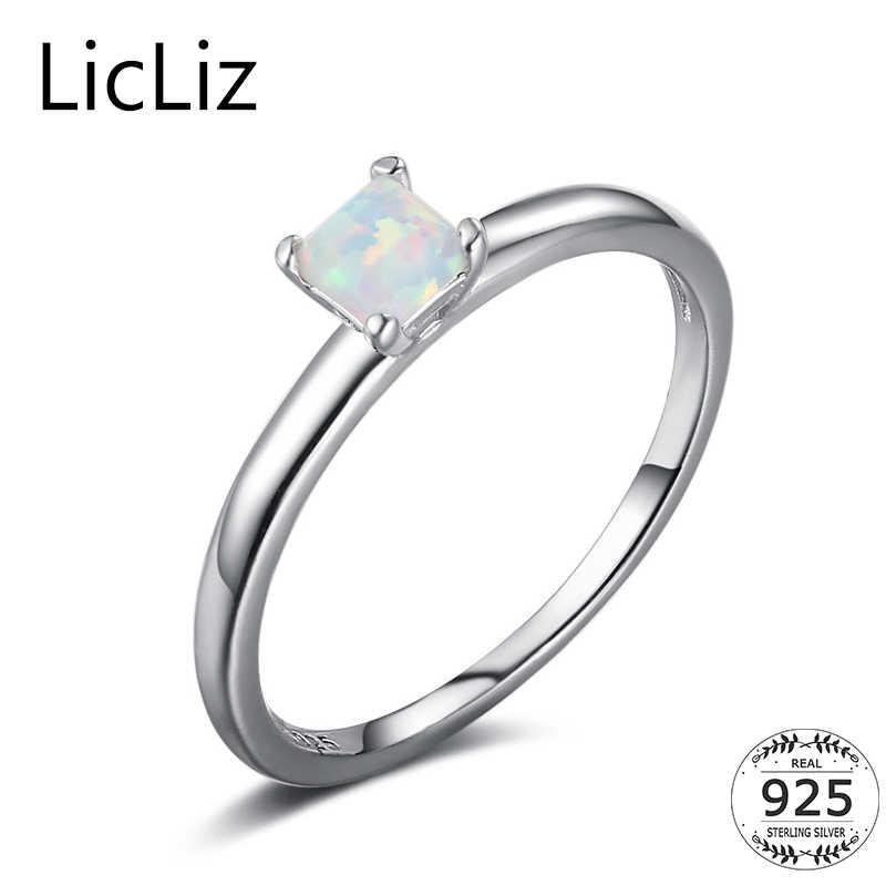 LicLiz 925 เงินสเตอร์ลิงโอปอลแหวนพลอยสแควร์แหวน Solitaire แหวนแหวนเจ้าหญิงหมั้น LR0382