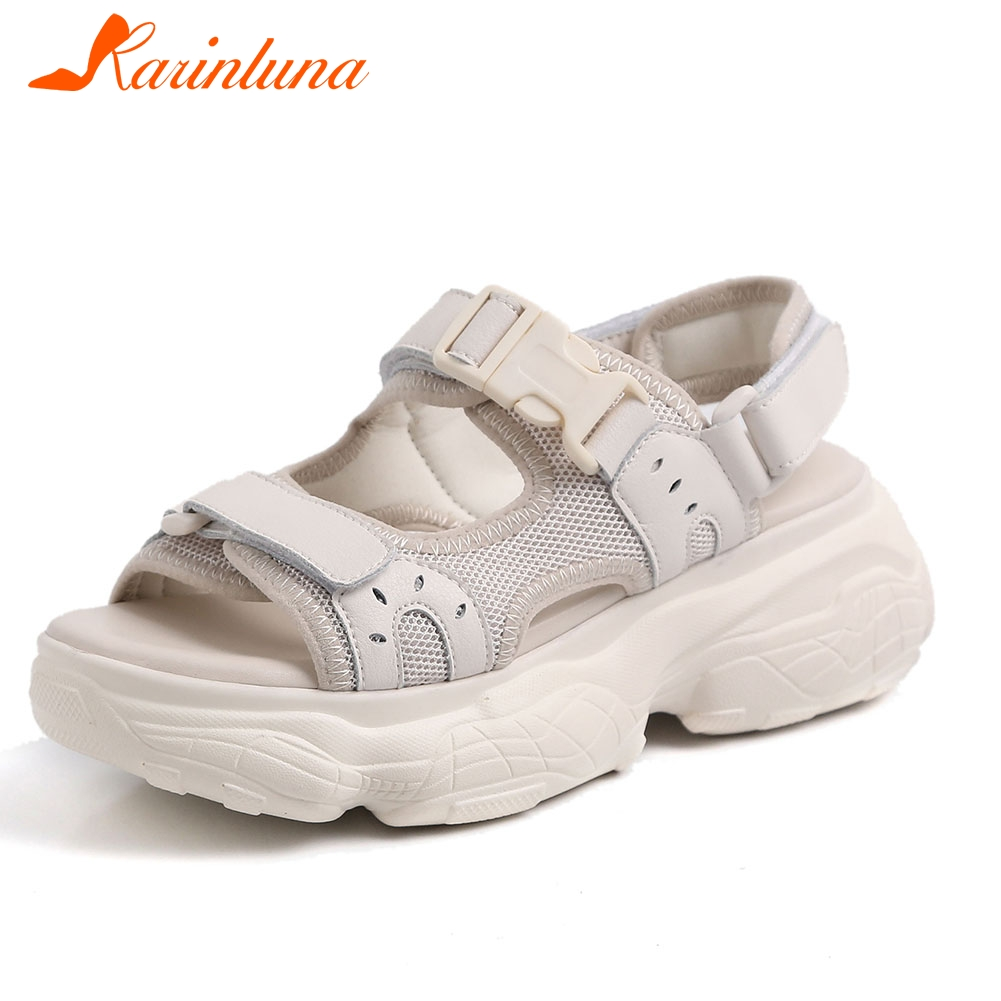 KARINLUNA New Fashion Women Shoes Big Size 35-41 womens Genuine Leather Casual Soft Hot Sale Summer Sandals 2019 Shoes WomanKARINLUNA New Fashion Women Shoes Big Size 35-41 womens Genuine Leather Casual Soft Hot Sale Summer Sandals 2019 Shoes Woman