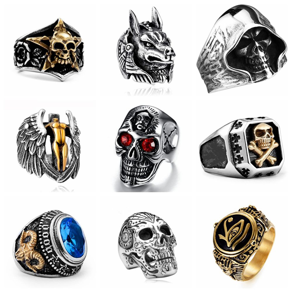Free Fan Vintage Gothic Skull Rings Men Fashion HipHop Turkish Male Punk Rings Skeleton Steampunk Jewelry Bague Homme Gifts