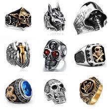 FDLK, anillos de calavera estilo gótico Vintage para hombre, moda Hip Hop, anillos turcos Punk para hombre, joyería Steampunk, regalo