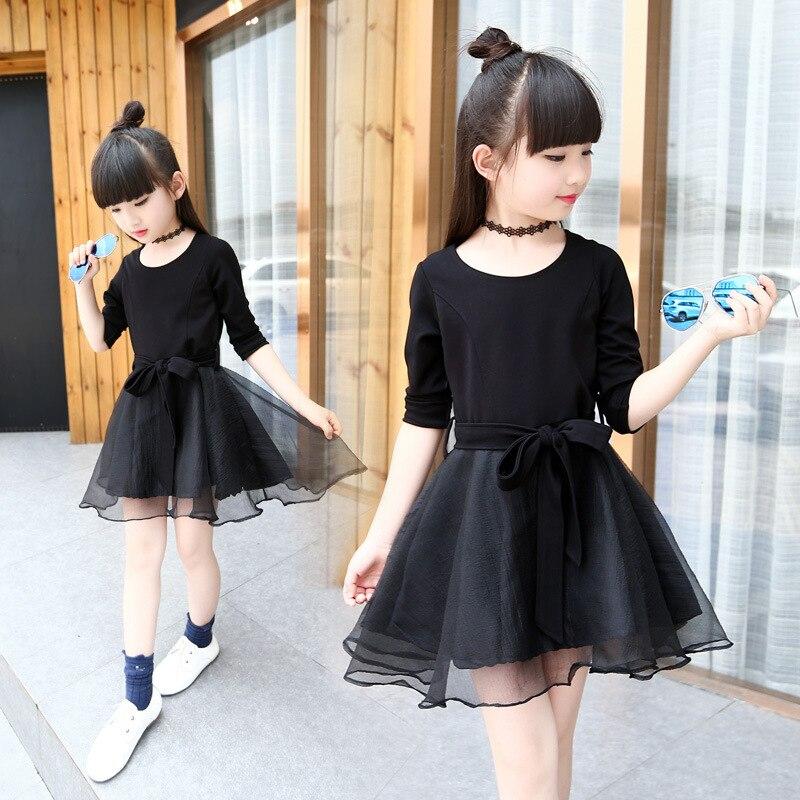 71dc509feb59 2018 Spring Summer Hot Girls Black Dresses Children Han Edition Long Sleeve  Pleated Lace Veil Princess Dress Kids One Piece A133
