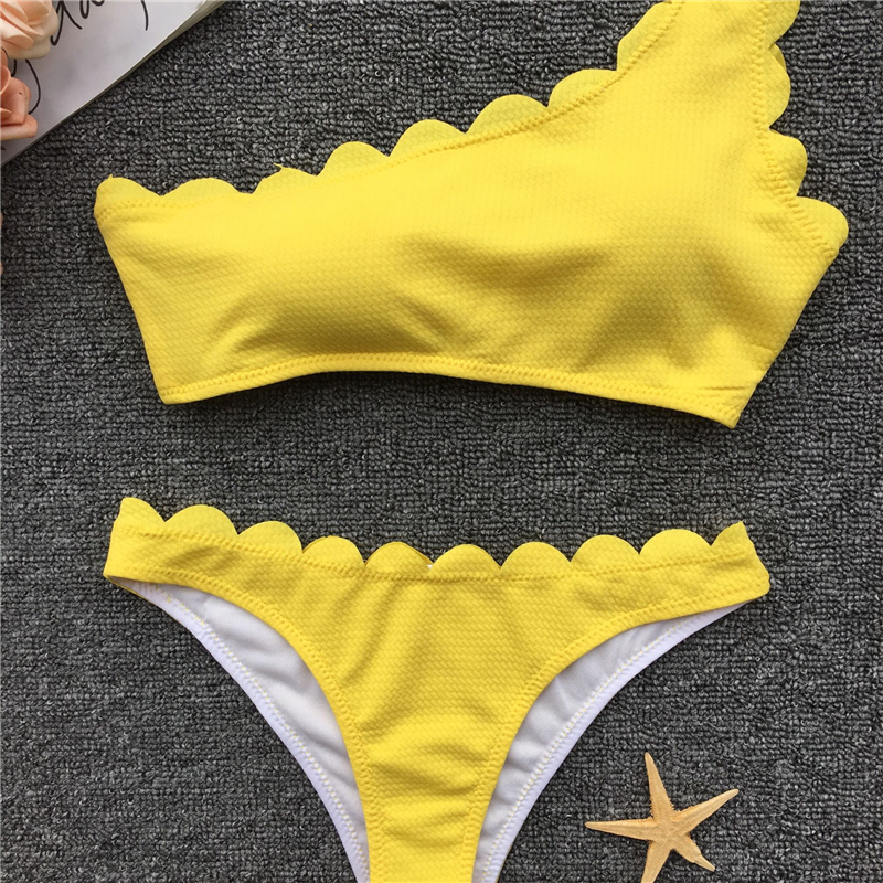 91a019aba3 2019 New One Shoulder Bandeau Bikini Set Scalloped Swimwear Wave Edge Women  Swimsuit Biquinis Bathing Suits maillot de bain B237-in Bikinis Set from  Sports ...