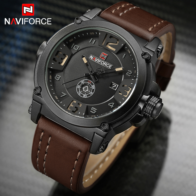 NAVIFORCE Luxury Brand Mens Watches Military Sport Watch Man Leather Strap Date Clock Men Quartz Wrist Watch Relogio Masculino sinobi men watch s shock military watch for man eagle claw leather strap sport quartz watches top brand luxury relogio masculino