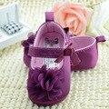 Bebé Zapatos de La Muchacha de Flor Púrpura Del Bebé Primeros Caminante Suaves del Bebé Recién Nacido Prewalker Shoes