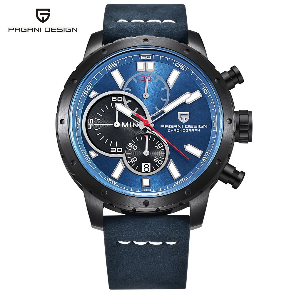 PAGANI DESIGN Mens Watches Top Brand Luxury Chronograph Quartz Watch Leather Stainless Steel Strap Wristwatch Relojes