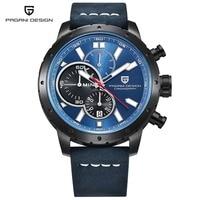 PAGANI DESIGN Mens Watches Top Brand Luxury Chronograph Quartz Watch Leather Stainless Steel Strap Wristwatch Relojes