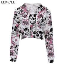 LEIMOLIS crop top hoodie women 3d print pink black gothic flower skull casual harajuku kawaii Spring Autumn Thin tops sweatshirt