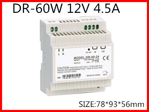 DR-60-12 Din Rail Switching power supply 60W 12VDC 4.5A Output Free Shipping ac dc dr 60 5v 60w 5vdc switching power supply din rail for led light free shipping