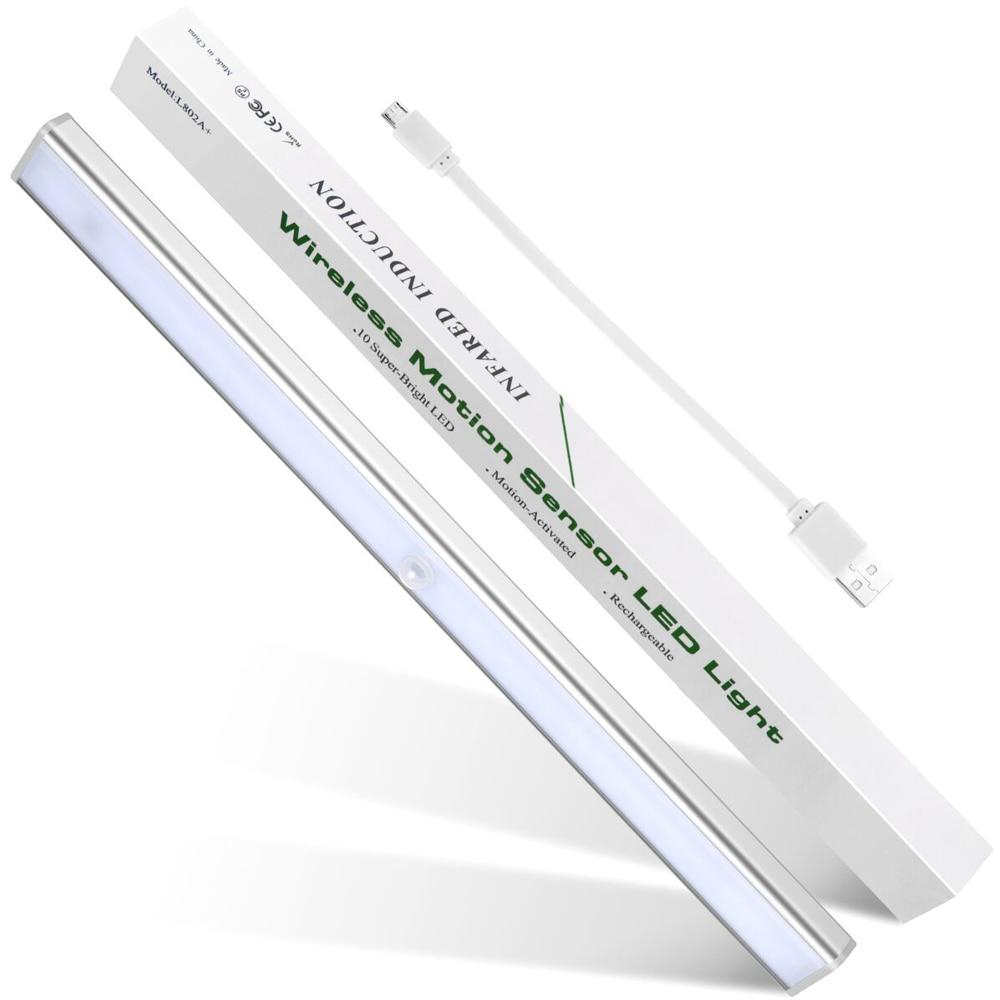 купить 10 LED Night Light Lamp With Motion Sensor Wireless Wall Lamps Rechargeable USB lampe Cabinet Closet Lights Bedroom Nightlight по цене 835.9 рублей