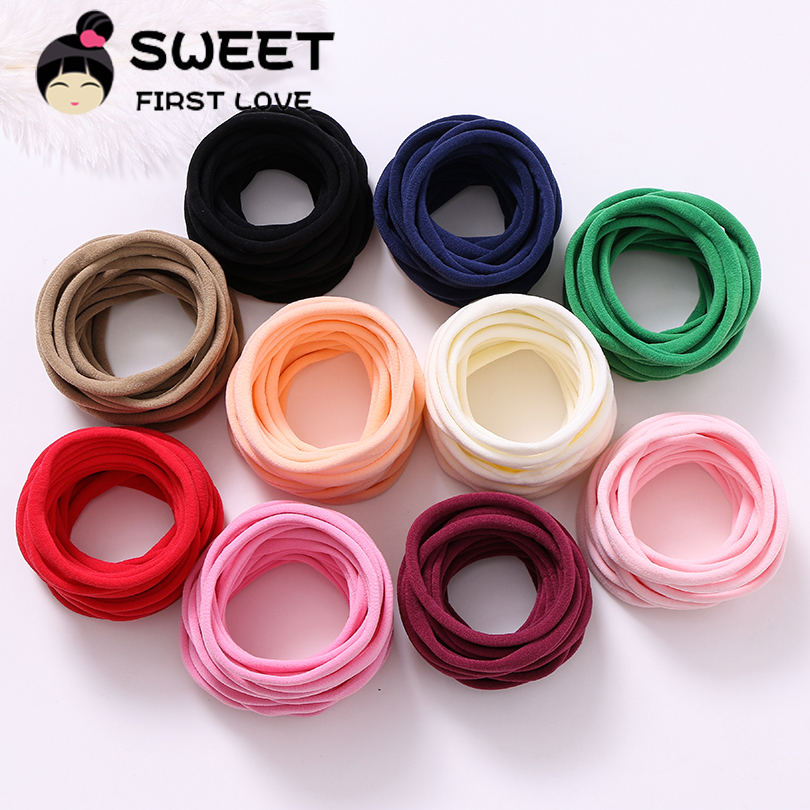 10pcs / lot 2018 Soft Traceless Children Headbands, Stretchy Skinny Nylon Headbands mergaitėms.