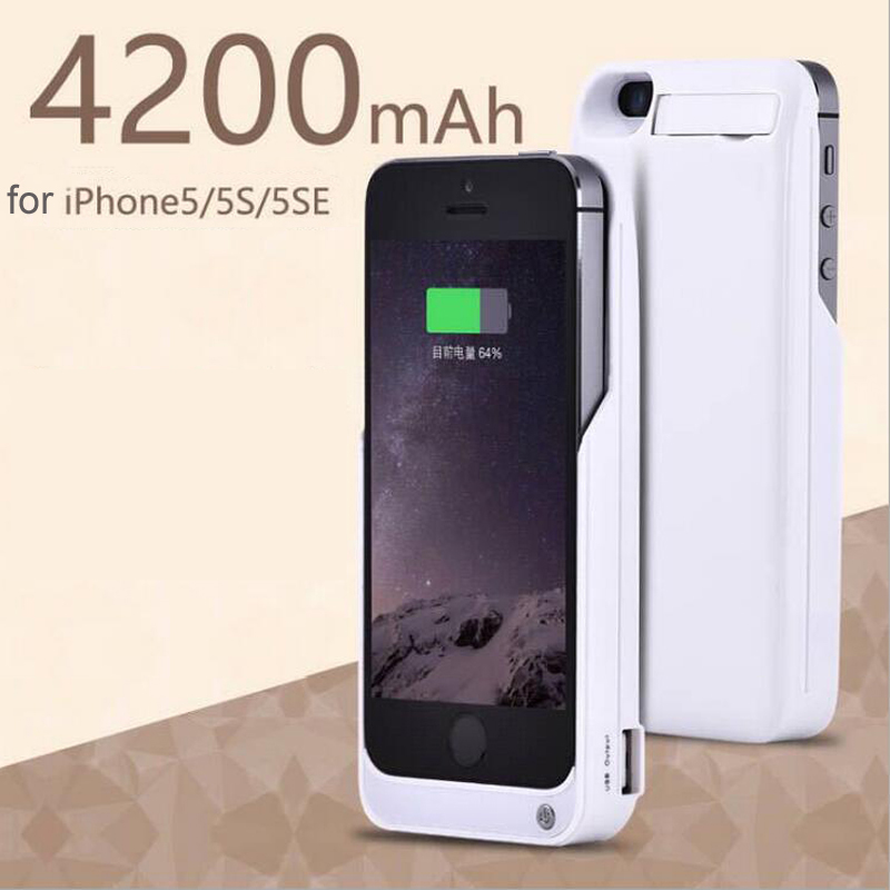 imágenes para Goldfox 4200 mah cargador de batería externa para iphone 5 5s se cubierta del teléfono banco de alimentación de emergencia cargador de batería de reserva