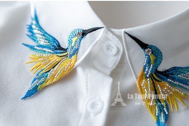 Fesyen Reka Bentuk Baru Burung sulaman bordir kalung rompi baju Tali - Pakaian wanita - Foto 3