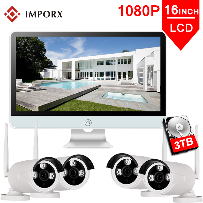 IMPORX 4CH 1080P Wireless 16 LCD Display CCTV NVR Kit 2MP Outdoor Security Video Surveillance Set