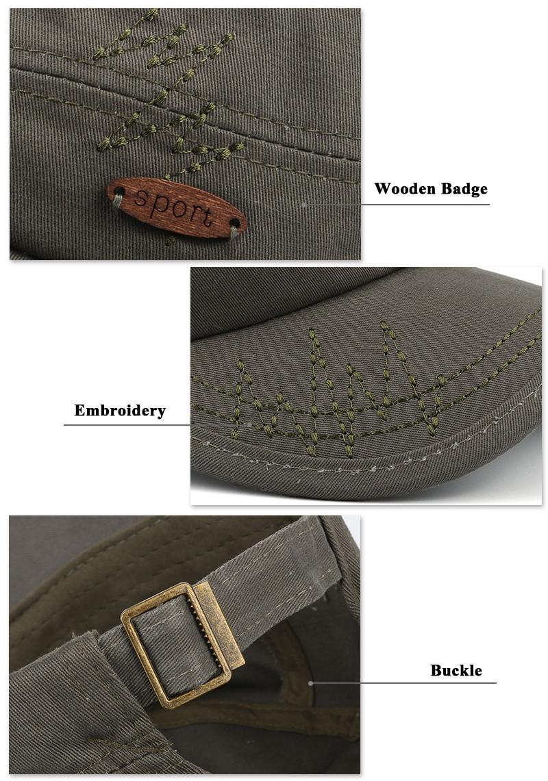 Adjustable Milicap - Wooden Badge, Brim and Buckle Detail Views