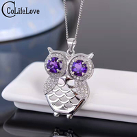 Cute owl necklace pendant inlay with 6mm natural amethyst pendant solid 925 silver owl pendant fashion silver pendant for girl