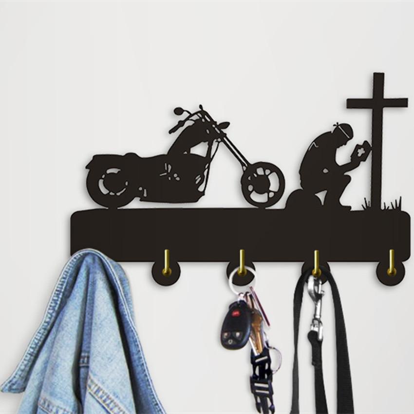 1Piece Biker Praying At Cross Motorcycle Wall Hook For Clothes Bag Keyring Creative Hanger Motorbike Riders Motorcyclist