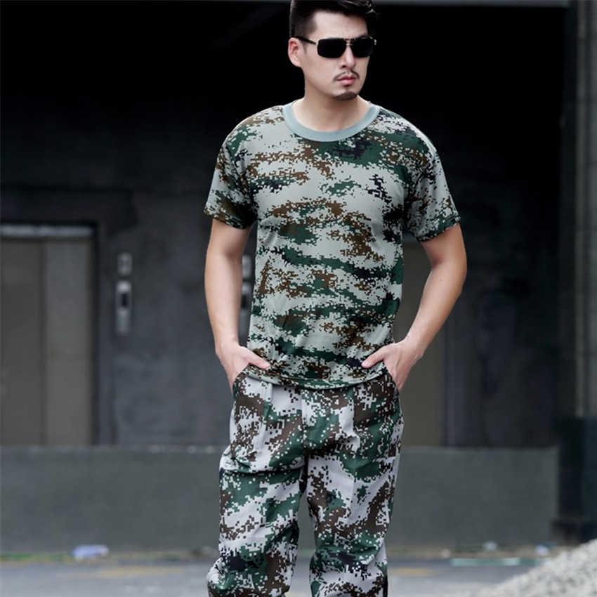 ผู้ชายทหารฤดูร้อนยุทธวิธีเสื้อผ้า Camouflage เสื้อยืดกางเกงสูทแขนสั้นผู้ชายการฝึกอบรมเครื่องแต่งกาย