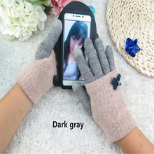 Autumn and winter ladies fashion  screen Gloves cashmere wool double layer warm gloves 6 colors A-25