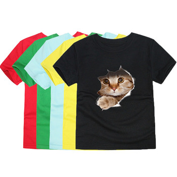 Letnie koszulki z krótkim rękawem dla dzieci koszulki z krótkim rękawem dla dzieci koszulki z krótkim rękawem dla zwierząt koszulki z krótkim rękawem dla chłopców koszulki z jednorożcem dla 1-14 lat tanie i dobre opinie CHUNJIAN COTTON Aktywny REGULAR O-neck Topy Tees Pasuje prawda na wymiar weź swój normalny rozmiar Unisex TTTX