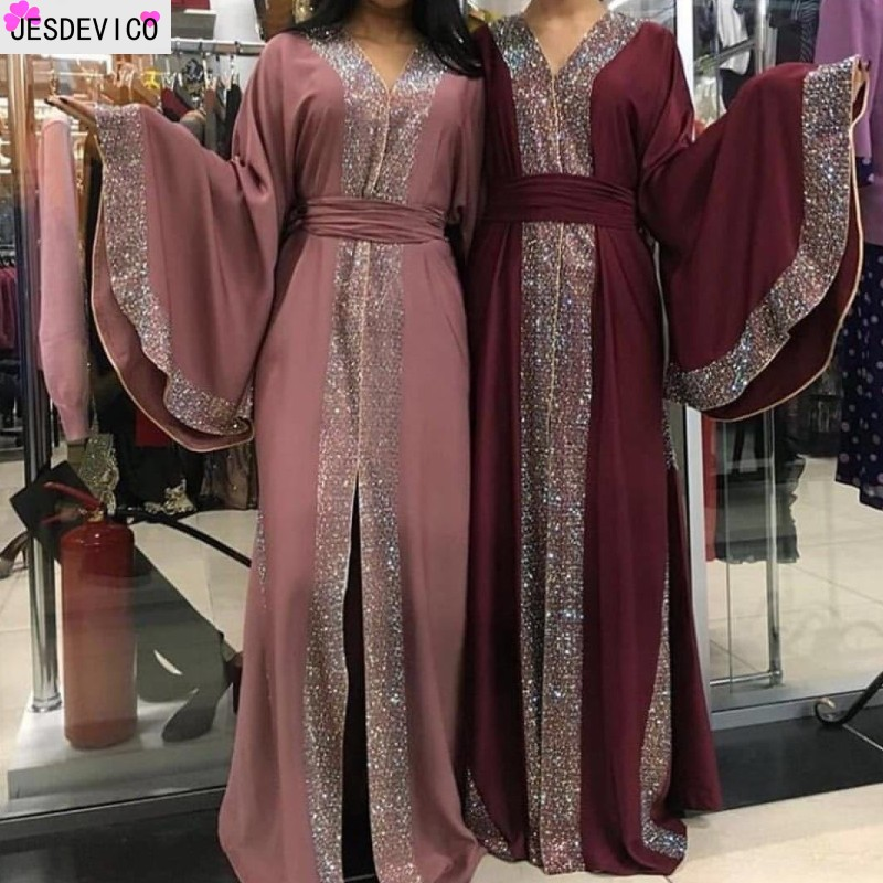 Luxurious Femme Cardigan Kimono Kaftan Hand-studded Diamond Robe Dubai Islam Muslim  Dress Abayas Caftan Qatar Turkey Clothing