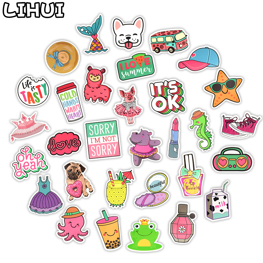 50 PCS Pink Girls Cute Stickers Trendy Kawaii Summer Beach Sticker For Suitcase Moto Car Laptop Guitar Bike Gifts Toys For Kids