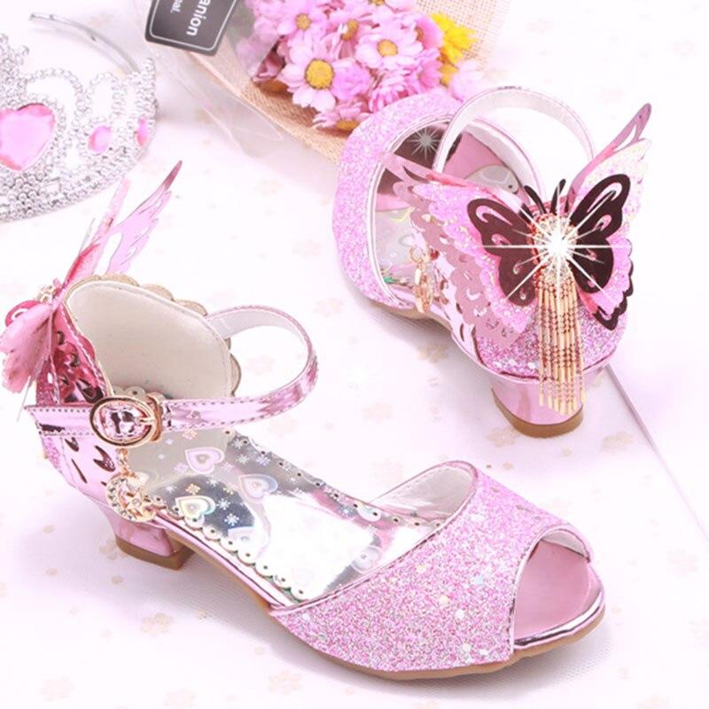 Maluch Little Girls Low Heel Sandały Cekiny Butterfly Strap Princess - Obuwie dziecięce - Zdjęcie 5