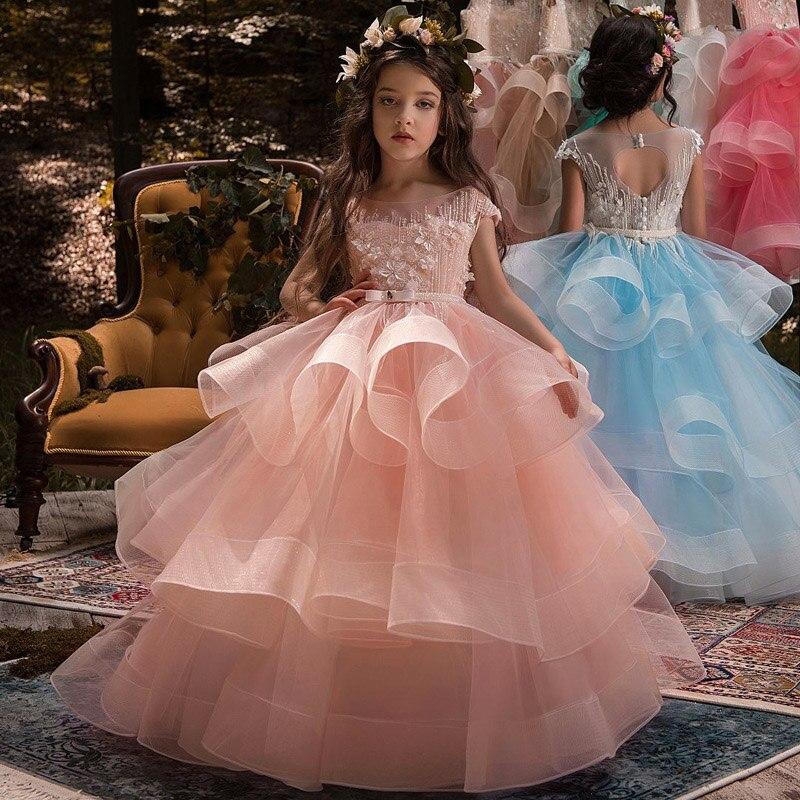 Robes d'été 2019 nouvelles filles robe fille vêtements longs robes de demoiselle d'honneur enfants robe sans manches robe de princesse pour les filles