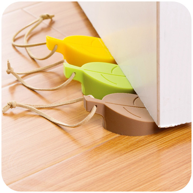 2pcs Colorful key/Leaf Style door stopper Silicon Doorstop Finger Safety Protection for Children Kids home decor