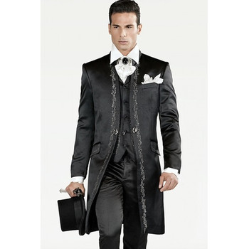 2018 Slim Fit Embroidery Groomsmen Tuxedos (Jacket+Pants+Vest) Bespoke Black Groom Wedding Men Suit Set Prom Mens Suits Blazers