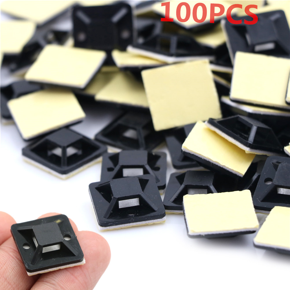 100Pcs Routing Looms Wire & Cable Base Clamps Clips / Self Adhesive Stick-on Mounts For Cable Ties