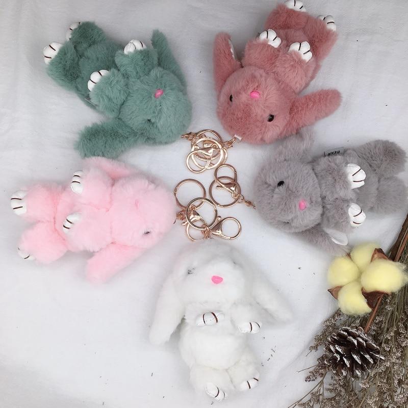 New Lovely Soft Fluffy Rabbit Pendant Stuffed Plush Animal Bunny Toy Fashion Doll For Baby Girl Kid Gift Animal Doll Keychain