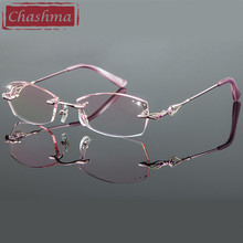 Chashma Titanium Fashion Female Eye Glasses Diamond Trimmed Rimless Spectacle Frames Women Eyeglass Frame Colored Lenses