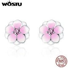 WOSTU 2017 Pure 925 Sterling Silver Pink CZ Enamel Magnolia Bloom Flower Floral Stud Earrings Original Jewelry Lady Gift XCHS503