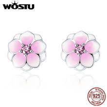 WOSTU 2017 Pure 925 Sterling Silver Pink CZ Enamel Magnolia Bloom Flower Floral Stud Earrings Original Jewelry Lady Gift XCHS503