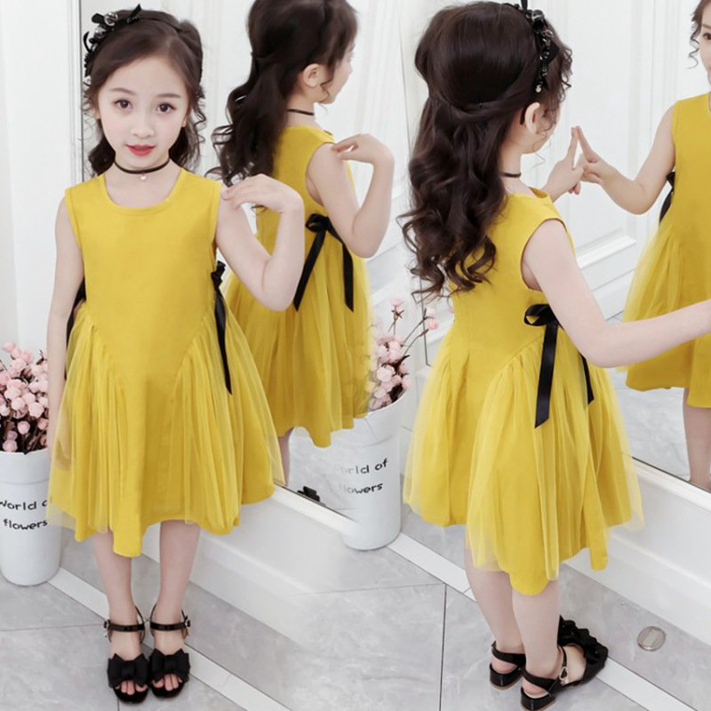 CROAL CHERIE Yellow Party Princess Dress Girl Summer Kids Dresses for Girl Costume Fashion Children Girls Clothing Bow Dress  (8)