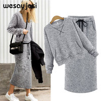 Winter clothes for women 2018 2 piece outfits for women clothes female clothing cheap tweed set pullover jacket women O neck