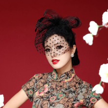 361096f016faf AliExpress.com Product – Lady Girl Fascinator Wedding Party Veil Feather  Hair Clip Hat Mesh Net Handmade