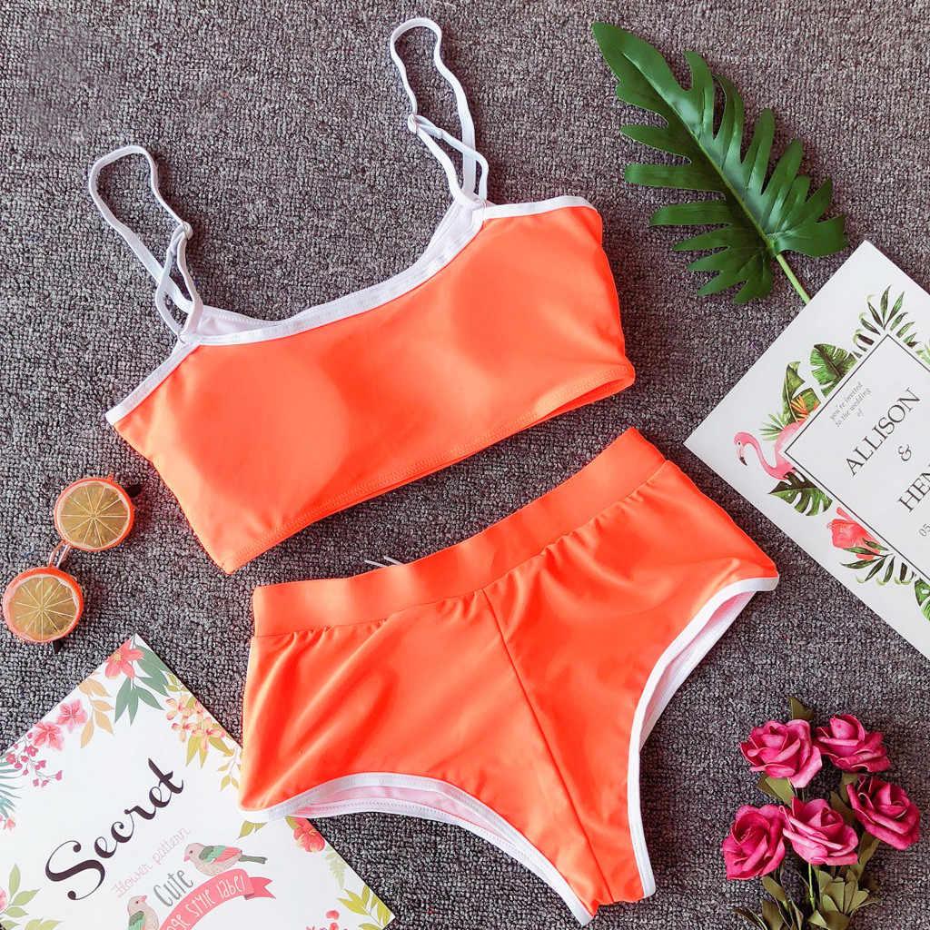 2019 traje de baño Sexy mujer push-up acolchado Sujetador Bikini conjunto deportivo casual encaje playa voleibol traje de baño playa Biquini 30