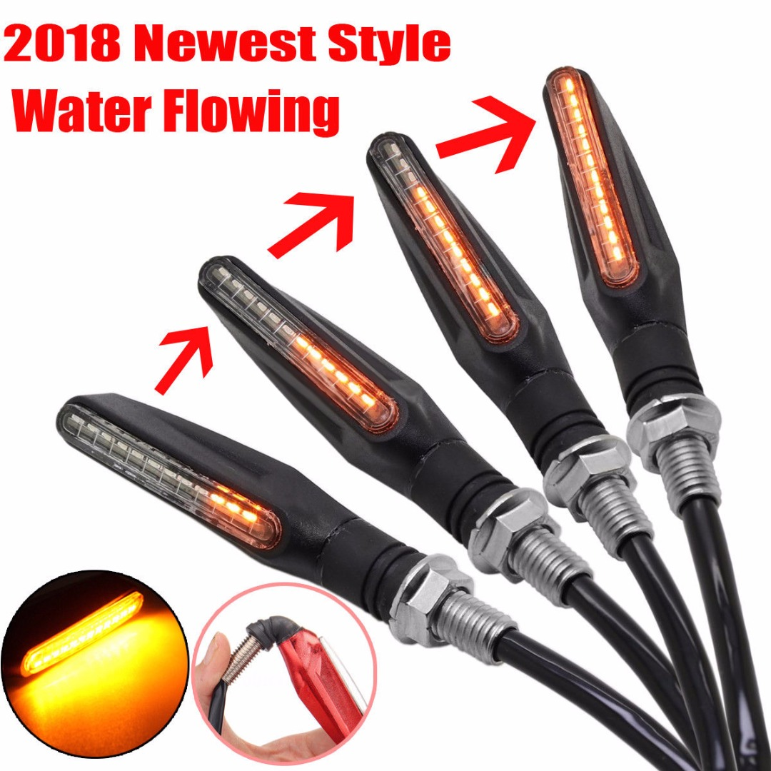 4pcs/set Flowing Universal Motorcycle Turn Signal Indicators 12LED 12V Blinkers Flexible Bendable Lamp Light Amber
